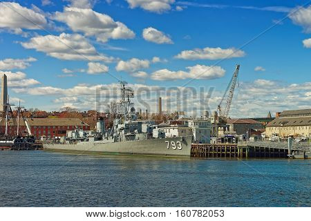 Uss Cassin Young Moored At Boston Navy Yard