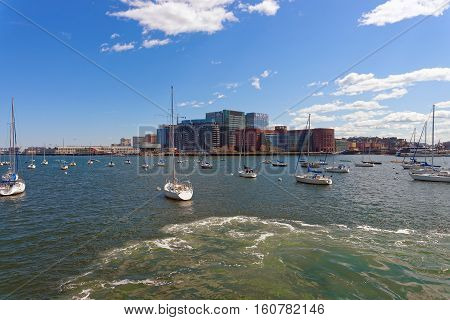 Yachts At Boston Wharf And Charles River And Financial District