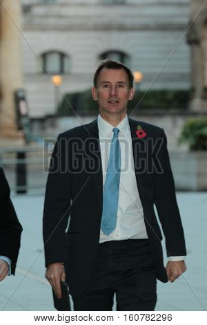 LONDON, UK NOV 6, 2016: Jeremy Hunt MP arriving for the Andrew Marr show at the BBC studio's picture taken from the street