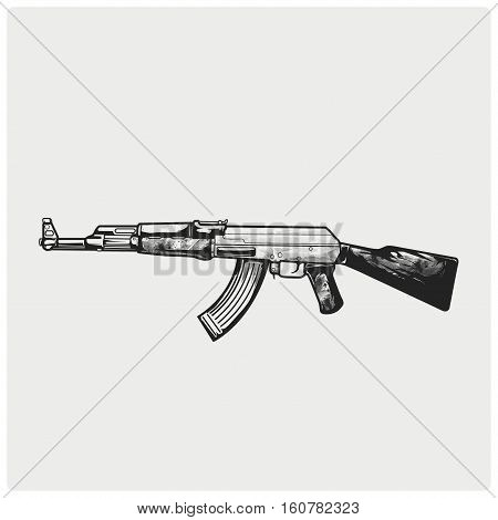 A vector illustration of AK-47. AK-47 illustration icon.