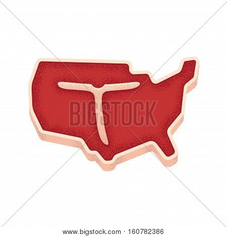 T bone steak in shape of United States map. American meat illustration. Vintage print texture.
