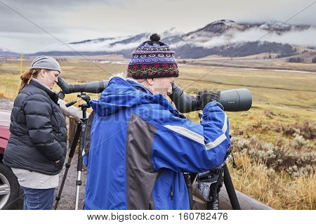 Yellowstone National Park, Wyoming, Usa - October 29, 2016: Two Wildlife Female Watchers Observing A
