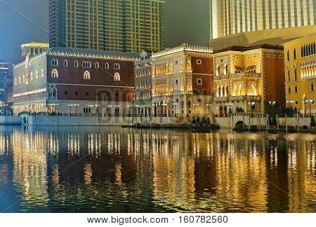 Canal Of Venetian Macau Casino And Hotel Luxury Resort Macao Golden Light