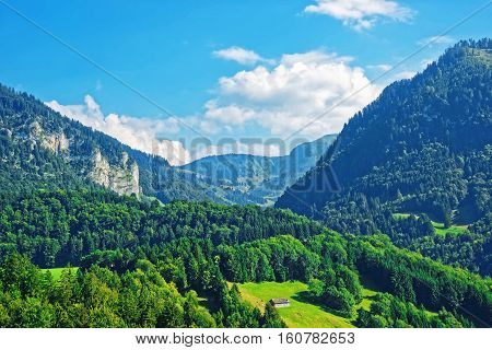 Chalets At Prealps Mountains In Gruyere District In Fribourg Swiss