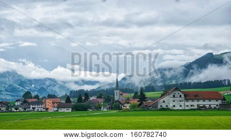 Church In Charmey Village At Prealps In Gruyere Fribourg Switzerland