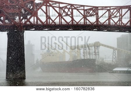 Broadway Bridge Snowstorm