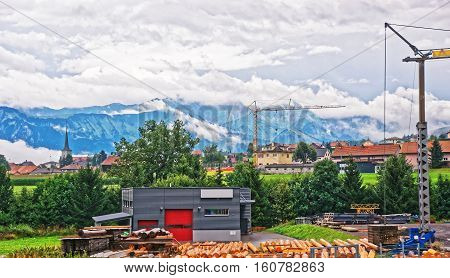 Construction works at Prealps mountains in Gruyere district Canton Fribourg in Switzerland