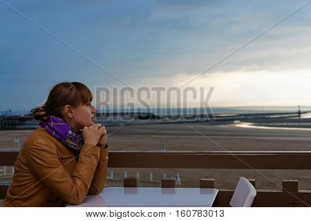 Girl And English Channel In Trouville In Calvados Normandy France