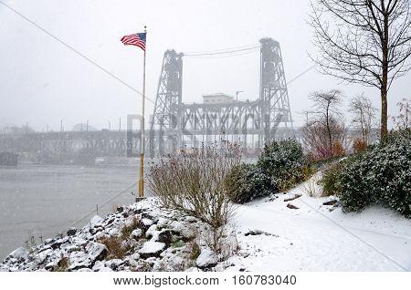 American Flag And Steel Bridge