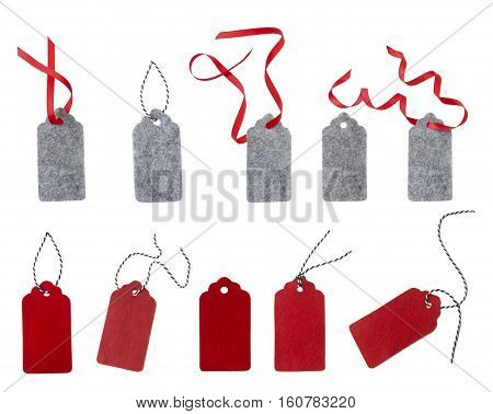 Set of color gift tags isolated on white background. Sale labels. Price tags. Special offer and promotion. Store discount shopping time. Gift labels isolated on white. Label from red and gray felt.