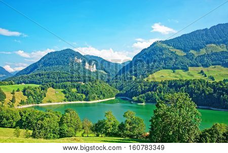 Lake Montsalvens And Prealps In Gruyere District Canton Fribourg Switzerland