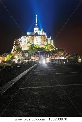 Mont Saint Michel In Normandy Of Manche In Evening
