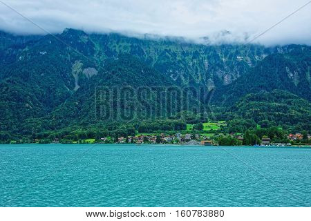 Panorama With Brienz Lake And Brienzer Rothorn Mountain Bern Swiss