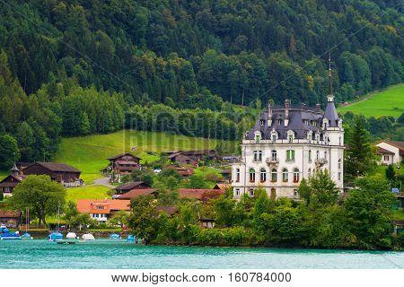 Mansion On Lake Brienz And Brienzer Rothorn Mountain Bern Switzerland