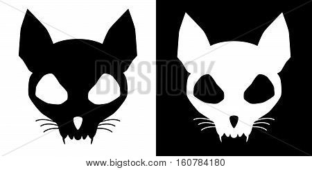 Set of funny cat skulls silhouettes in black and white.