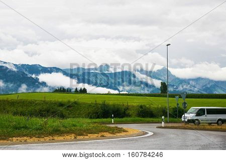 Road At Prealps Mountains In Gruyere In Fribourg Swiss