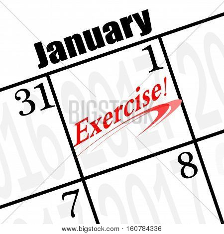 2017 new years resolution is exercise calendar icon