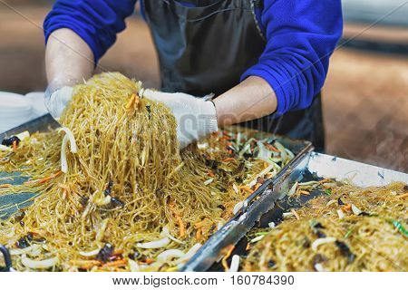 Stall With Noodle In Myeongdong Street Market In Seoul Asia