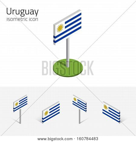 Uruguayan flag (Eastern Republic of Uruguay) vector set of isometric flat icons 3D style different views. Editable design elements for banner website presentation infographic map. Eps 10