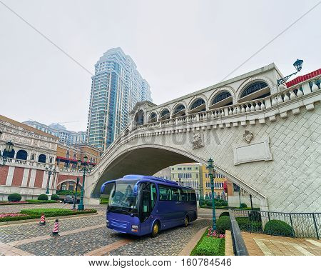 Touristic Bus At Venetian Macao Casino And Hotel Luxury Resort