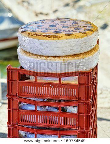 Typical tourron sweet nougat wheels on the counter in Ascona street market Lake Maggiore Ticino canton Switzerland.