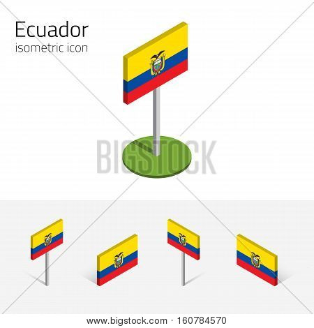 Ecuadorian flag (Republic of Ecuador) vector set of isometric flat icons 3D style different views. 100% editable design elements for banner website presentation infographic poster map. Eps 10