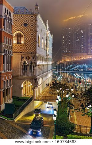 Venetian Macao Casino And Hotel Luxury Resort Macau At Night