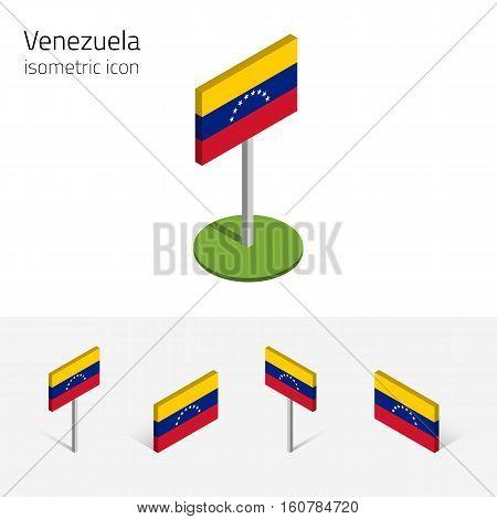 Venezuelan flag (Bolivarian Republic of Venezuela) vector set of isometric flat icons 3D style different views. Editable design elements for banner website presentation infographic map. Eps 10