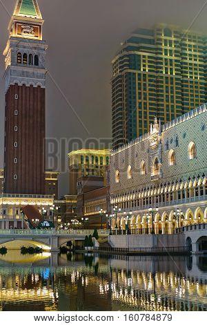 Venetian Macau Casino And Hotel Luxury Resort Of Evening Macao