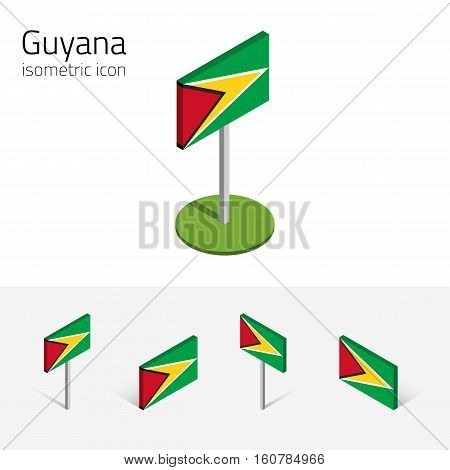 Guyanese flag (Co-operative Republic of Guyana) vector set of isometric flat icons 3D style different views. Editable design elements for banner website presentation infographic map. Eps 10