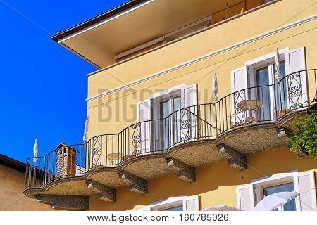 Balconies Of House In Ascona In Ticino In Switzerland