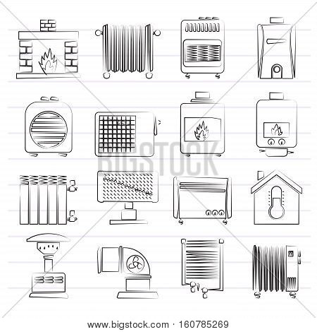Home Heating appliances icons - vector icon set