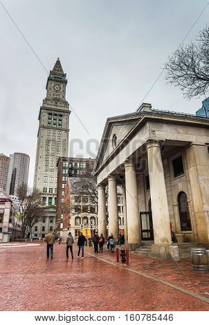 Custom House Tower And Quincy Market In Downtown Boston
