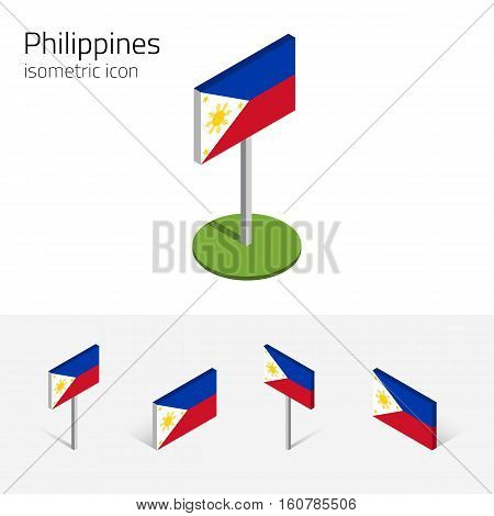 Philippine flag (Republic of the Philippines) vector set of isometric flat icons 3D style different views. Editable design elements for banner website presentation infographic map. Eps 10