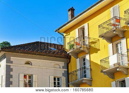 Houses Roof Tops In Ascona Ticino In Switzerland