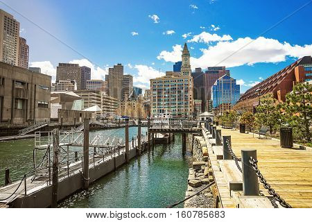 Long Wharf And Skyscrapers Of Custom House And Financial District