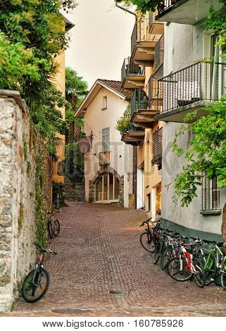 Narrow Street With Bicycles In Ascona Of Ticino In Switzerland