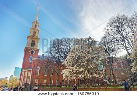 Park Street Church And Granary Burying Ground In Boston