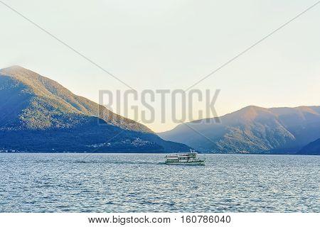 Passenger Ferry At Pier In Ascona Swiss