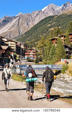 People Doing Nordic Walking In Zermatt