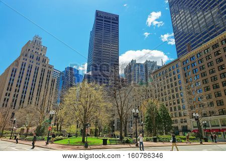 Post Office Square And Skyline With Skyscrapers In Downtown Boston