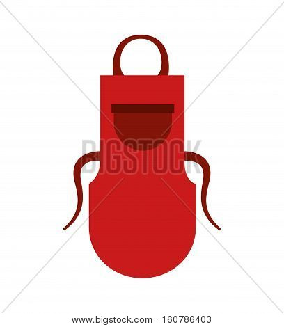 red apron kitchen accessory icon over white background. colorful design. vector illustration