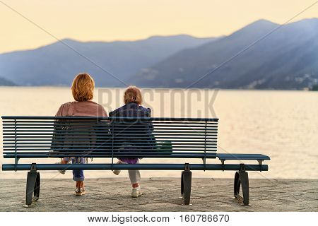 Senior Women Sitting On Bench In Ascona Swiss