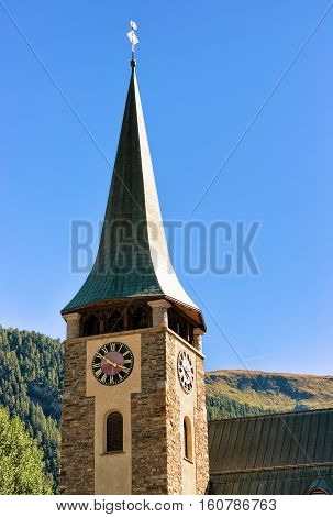 Steeple Of St Mauritius Parish Church In Zermatt