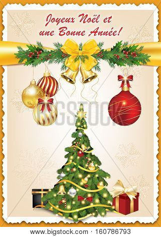 Classic French greeting card for winter season: Nous vous souhaitons Joyeux Noel et une Bonne Annee!  Text translation: We wish you Merry Christmas and Happy New Year! Print colors used.
