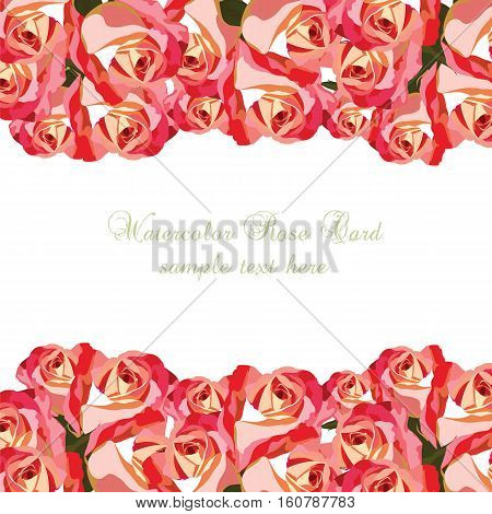 Watercolor Pink Roses card. Vector Vintage floral border for greeting cards, invitations, weddings, birthday, Valentines Day, Mothers Day