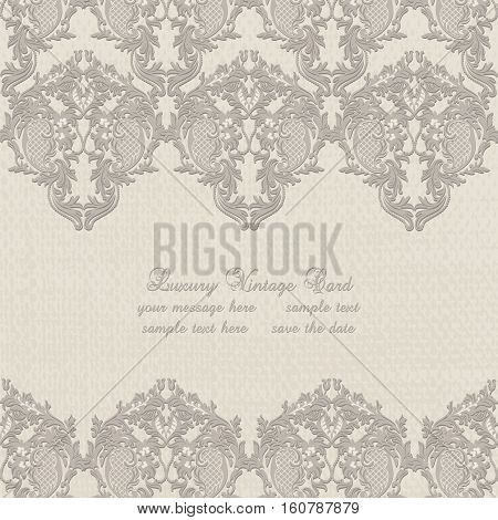 Vector Damask Lace Invitation card with floral ornament. Delicate intricate decorated card for wedding ceremonies, anniversary, party, events. Taupe color