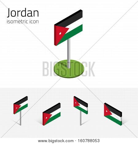 Jordanian flag (Hashemite Kingdom of Jordan) vector set of isometric flat icons 3D style different views. Editable design elements for banner website presentation infographic map. Eps 10