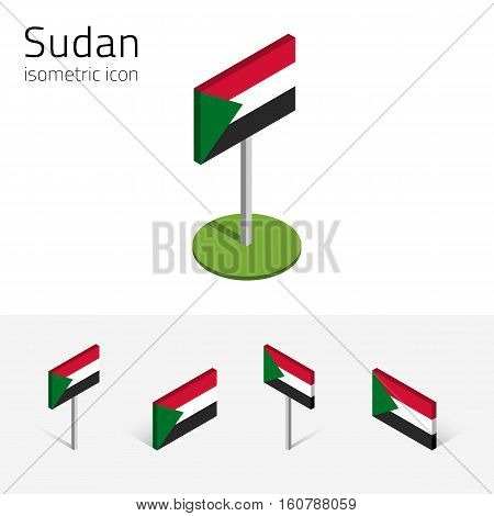 Sudanese flag (Republic of the Sudan) vector set of isometric flat icons 3D style different views. Editable design elements for banner website presentation infographic poster map. Eps 10