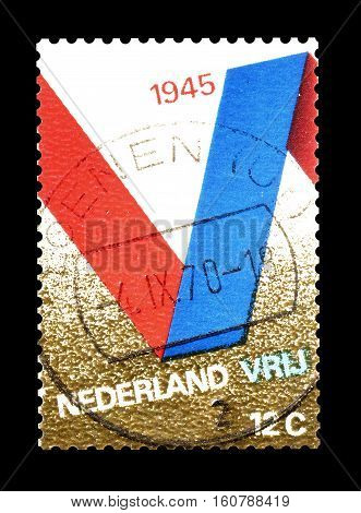 NETHERLANDS - CIRCA 1970 : Cancelled stamp printed by Netherlands, that shows Victory.